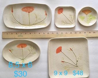 California Poppy pottery: handmade decor ceramic plate golden yellow  tray ring trinket dish CA Poppy