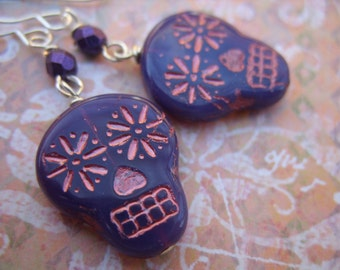 Sugar Skull Earrings - Purple and Rose Gold