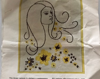 1970s Athena Crafts Embroidery Kit for Lorelei No. S1004 - Wall Picture Kit 10 in x 12 in