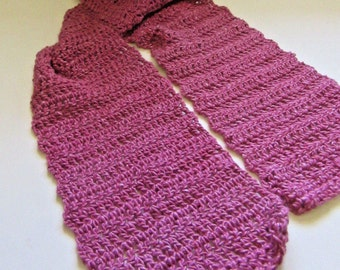 Womans Orchid Silk Scarf Alpaca Wool Blend Yarn 60x6 Crochet knit Sexy Chic Hand Dyed Organic Handmade Bohemian Cowl Mothers Day Gift Spring