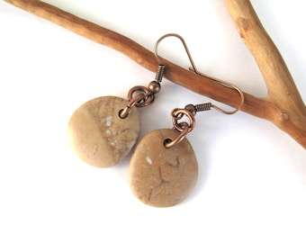 River Stone Earrings Beach Stone Earrings Mediterranean Beach Pebble Natural Rock Rustic Jewelry Beach Pebble Copper COGNAC