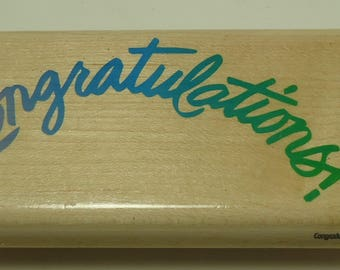 Congratulations Wood Mounted Rubber Stamp By Posh Impressions, Rubber Stampede, Christmas, Z-379-F