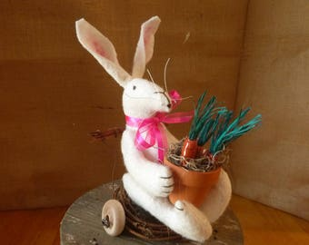 SPRING BUNNY on WHEELS-Easter-carrots-Easter Decor-