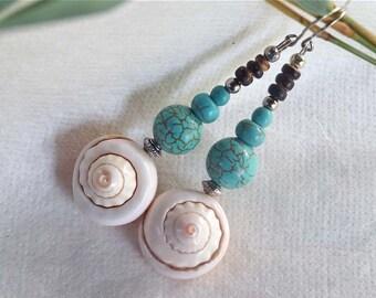 Turquoise Earrings, Boho Shell Dangle Earrings, Long Nautical Earrings, 1 Set