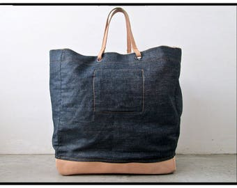 Denim Leather Tote