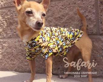 Safari Summer Dog shirt, puppy shirt, dog clothes, pet clothing, small dog clothes, boy dog clothes