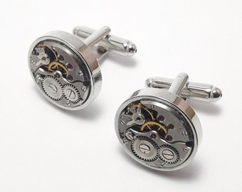Round mechanical watch movement cuff links