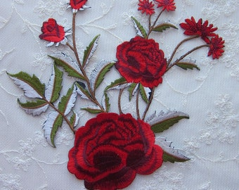 Red Hat Society Rose embroidered flower patch iron on applique w leaves