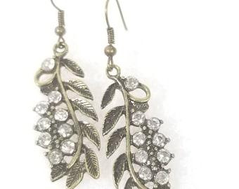 Gold Sparkle leaf earrings