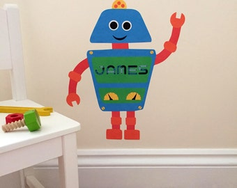 Personalised robot wall sticker - robot decal - robot - personalised wall stickers - robot artwork - new baby gift - nursery wall stickers