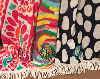 Monogrammed Beach Towel/Circle Beach Towel/ Round Beach Towel/Beach Towel