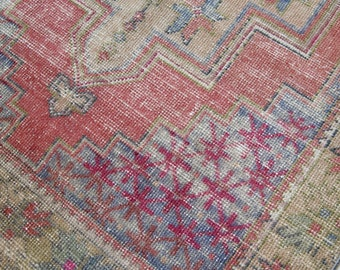 "7'4""x3'9"" Red Pink Gold and Green Faded Vintage Turkish Oushak Rug"