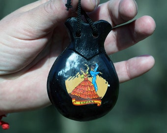 Castanets, Vintage wooden castanets, Percussion instrument, Spanish folk ethnic castanets, Home decor, Souvenir