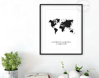 What A Wonderful World, PRINTABLE Wall Art, Louis Armstrong, Black World Map, Cursive Typography, Home Decor, Digital Download Poster Print