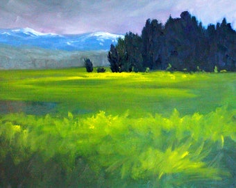 Spring Meadow, Landscape, Oil Painting, Original, 16x20, Canvas, Northwest, Western, Green, Blue, Prairie, Field, Rural, Mountain, Trees