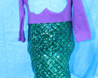 Mermaid costume,Halloween costume,Ariel costume,Purple mermaid,blue iridescent mermaid tail dress,Tropical mermaid costume Halloween