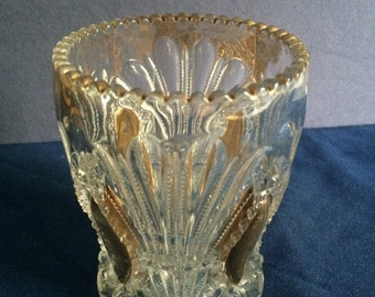 Lovely Leaded Cut Glass with gold Vase