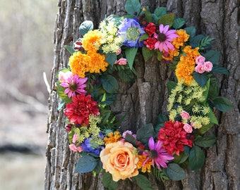 Summer Wreath-Front Door Wreath-Beautiful Wreath-Multi Color Wreath-Unique Wreath-Country Wreath-Summer Door Wreath-Summer Decoration