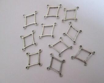 10 connecteur losange géométrique 19 x 22 mm en métal argenté