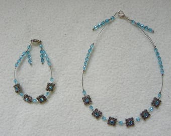 Necklace & blue beaded Swarovski bracelet