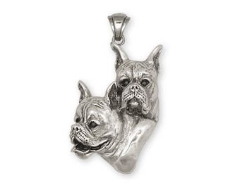 Boxer Pendant Jewelry Sterling Silver Handmade Dog Pendant BX7-P