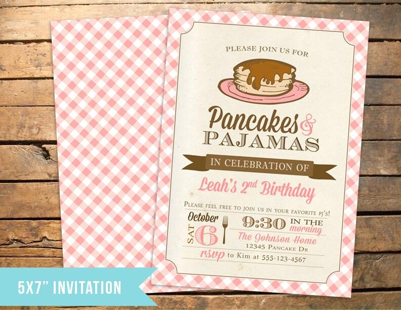 Pancakes and PJs Pajamas Birthday Invitation PLUS Thank You