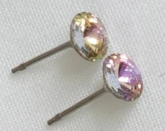 Amethyst earrings, vintage earrings, stud earrings, crystal stud earrings, 1960s earrings, crystal stud earings, post earrings, pierced ears