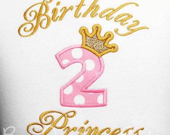 Birthday Princess Shirt or Bodysuit, Custom Princess Birthday Shirt, Princess Birthday Bodysuit, Pink and Gold, Custom Colors, Any Age