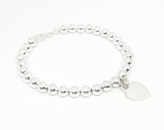 Sterling Silver 4mm Bead Bracelet with Sterling Silver Heart Charm