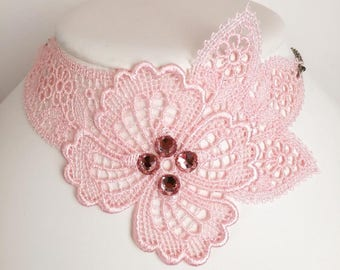 Pink lace asymmetrical necklace with stainless steel chain