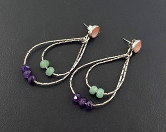 Teardrop Hoop Earrings, pink mother of pearl, amethyst earrings, hoop earrings, bohemian hoops, michele grady, boho earrings, avneturine