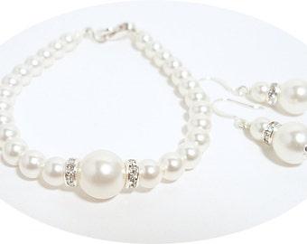 Perle Armband und Ohrringe, Brautschmuck, Brautjungfer Schmuck Set, Hochzeit Schmuck, Armband, Ohrringe, Perlenschmuck