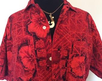 Vintage Red Hawaiian Shirt - L