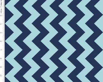 Aqua & Navy Blue Chevron Fabric, Riley Blake C380-23 Medium Chevron, Nautical Blue Chevron Quilt Fabric, Tone on Tone Blue, Cotton
