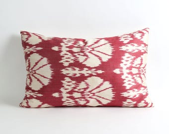 Silk ikat pillow case 16x24 Red wine and white ikat pillow