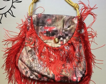 LAURASOLELUNA-Bag of laminated fabric with red fringes-unique handmade piece-Made in Italy