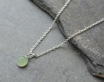 Green Aventurine Pendant, Sterling Silver Pendant, Aventurine Necklace, Dainty Pendant, Choice Of Chain Length