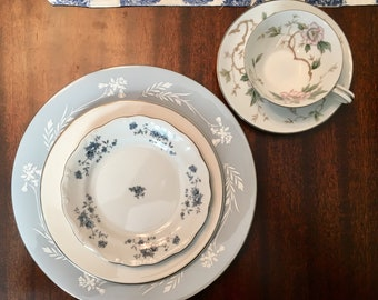 Vintage, Mismatched 5pc Place Setting for, weddings, tea parties, dinner parties, bridal , baby showers, hostess, bridesmaid gifts 6004