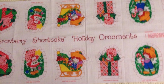 Vintage strawberry shortcake fabric panel christmas ornaments cut vintage strawberry shortcake fabric panel christmas ornaments cut and sew rare collectable fabric american greetings for springs ind from m4hsunfo