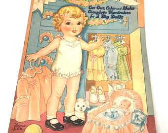 Original Uncut Paper Doll Book,Over sized,Make Clothes for Patsy,Florence Salter,Ephemera,Merrill Publishing, Chicago, Illinois, c1941