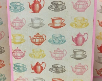 Tea Notes, Tea Party Cards, Tea Stationery, Tea Note Cards, 6 Cards and Envelopes