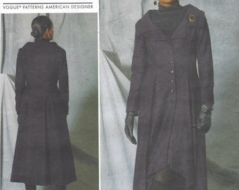 Patricia Jeanne Keay Womens Lagenlook Coat Portrait Collar Vogue Sewing Pattern V1529 Size 14 16 18 20 22 Bust 36 38 40 42 44 UnCut