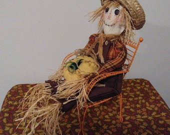 20' scarecrow doll in chair, Scarecrow, Autumn, Halloween rag doll, Raggedy Ann