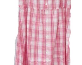 Vermont Country Store Cotton Pink Plaid Jumper Dress Size L