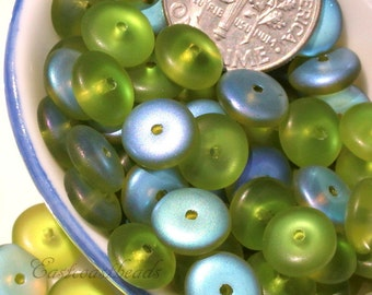Preciosa Glass Spacer Disk Beads, 8mm., Heishi, Disk, Beads, Olivine Green With Frosted AB Finish, Czech Glass Beads, 8 mm, Czech, 50 Pcs,