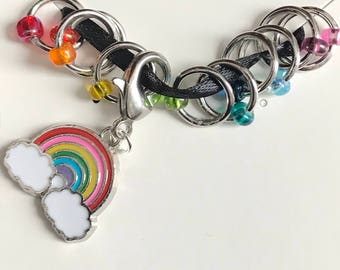 Rainbow Ring Stitch Markers, enamel, ring markers, knitting supplies, snagless, knitting markers, knitter gift, Clip on Charm, stitchmarkers