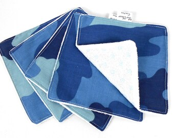 Blue Camo Pattern Washable Reusable Baby Nappy Diaper Cloth Wipes