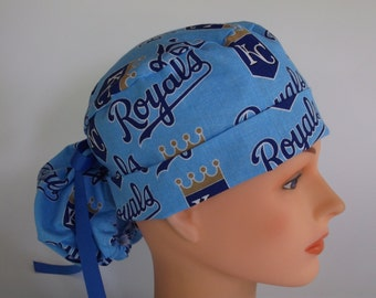 Kansas City Royals Sky fabric Ponytail - Womens surgical scrub cap, scrub hat, Nurse surgical cap, F+4310 W