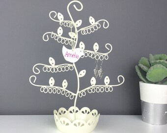 Personalised Flower Earring Tree - Jewellery Dish in Cream, Copper or Blue - Earring Holder - Earring Stand - Earring Dish - Earring Storage
