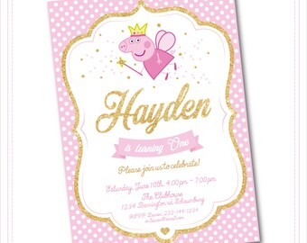 Peppa Pig Invitation - Peppa Pig Birthday Invitation - Peppa Pig Party Invite - George Birthday Printable invite - Pink and Gold